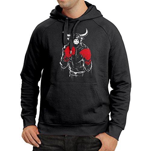 lepni.me Sweatshirt à Capuche Manches Longues Combat de taureaux avec des Gants de Boxe et des Muscles (XXX-Large Noir Multicolore)
