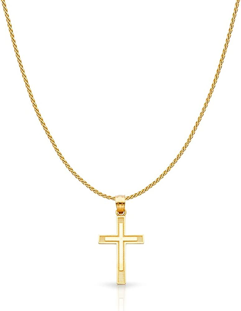 14K Yellow Gold Cross Charm Pendant Wheat with Chain Super Limited time sale sale period limited Neckl 0.9mm