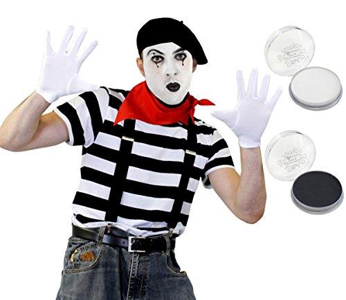 Francés Artista del mimo guantes de disfraz boina camiseta tirantes fancy dress–Camiseta...