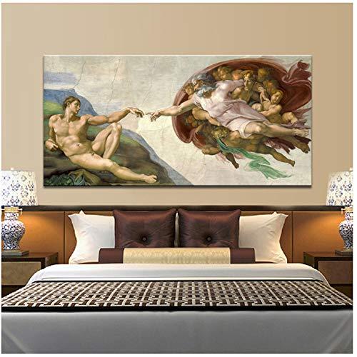 Techo de la Capilla Sixtina Fresco de Miguel Ángel, Creación de Adán Impresión del póster en lienzo Imagen de arte de pared para la decoración de la sala de estar -60x120cm Sin marco