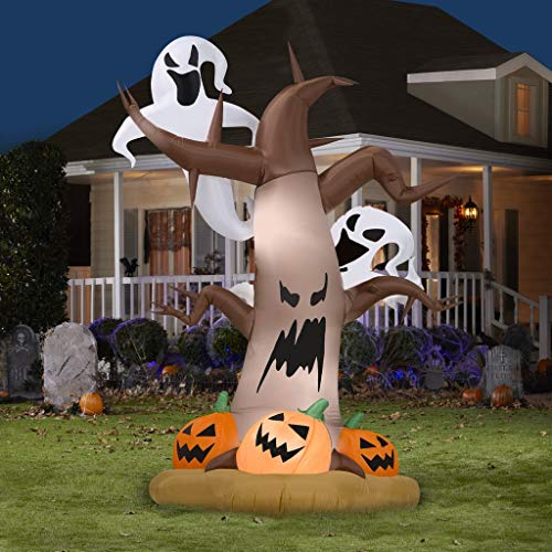 Halloween Inflatable Light Up Tree with Ghost, Spider and Pumpkins