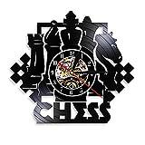 WJHXYD Juego De Ajedrez Arte De La Pared Reloj De Pared Tablero De Ajedrez Piezas Negras Estrategia Jugador