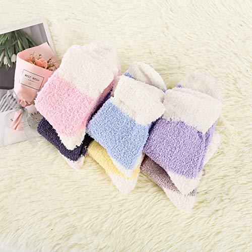 Zando Women Fuzzy Socks Super Soft Slipper Socks Colorful Fuzzy Socks Warm Plush Socks Winter Indoor Fluffy Socks Cozy Sleep Crew Socks Comfy Bed Socks 6 Pairs Candy Patchwork One Size