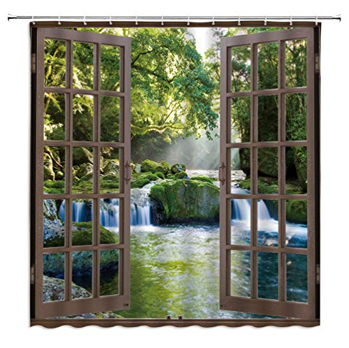 """Waterfall Shower Curtain 3D Forest Green Tree Stone Rainforest River Jungle Landscape Spring Nature Scene Through Wooden Windows Fabric Bathroom Decor Set with Hooks,Green Brown(70"""" WX70 H)"""