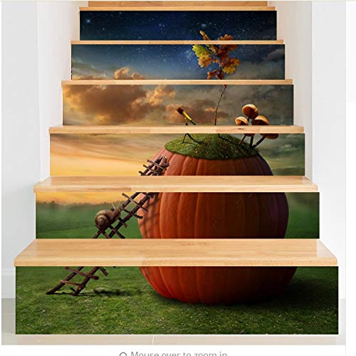 lili-nice Vivid 3D DIY Steps Etiqueta Engomada de la Escalera Motivación Paisaje del Caracol PVC Patrones de pósteres Paisaje Decoración del hogar 18 * 100cm 1set 6pcs
