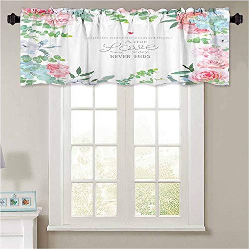YUAZHOQI - Cenefas de cortina con diseño de acuarela floral cuadrado y marco de 1 panel de 91,4 x 45,7 cm impermeable para ventana de baño