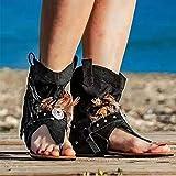 XLBHSH Sandali Piatti da Donna Sandali con Clip in Nappa Artificiale Vintage Sandali Infradito da Spiaggia Traspiranti Estivi,Nero,42