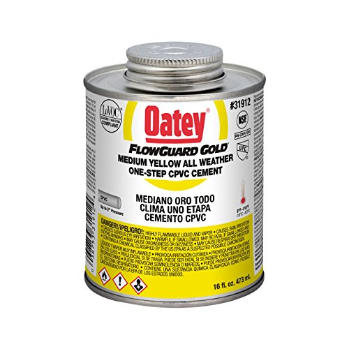Oatey 31912 16 oz Flowguard Gold 1-Step Cement, CPVC Yellow