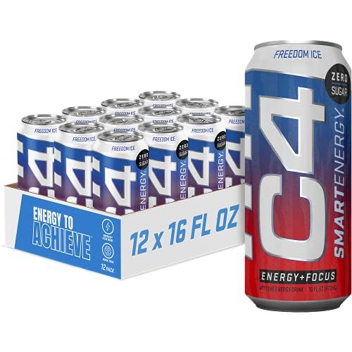 Cellucor C4 Smart Sugar Free Energy Drink -Performance Fuel & Nootropic Brain Booster with No Artificial Colors or Dyes, Freedom Ice, 192 Fl Oz