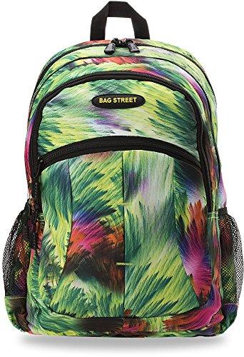 Rucksack Arbeit Freizeit Schule City Bag Street (Grün bunt)