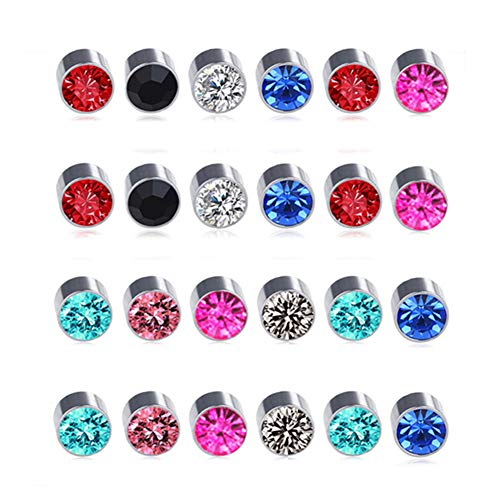 Spiritlele 12 Pairs Colors Crystal Magnetic Earrings Set CZ Click on Non Piercing Fake Stud Earrings For Men