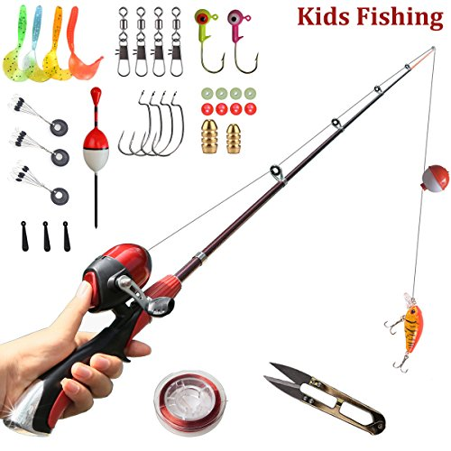 Kids Fishing Pole 55 inches Light Weight Durable Baitcast Beginner Fishing Pole with Tackle Box Easy for Boys and Girls (Full Combo)