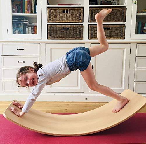 Balance Board de madera para niños, tira de la oscilación del balancín curvado oscilación tableros de meza, tabla de equilibrio de madera aprender mediante el juego y soportes desarrollo infantil
