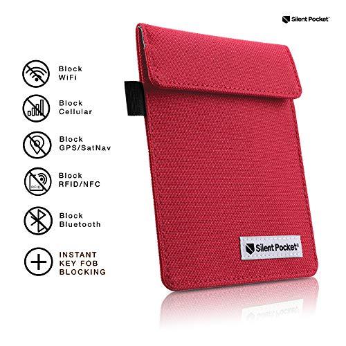Silent Pocket Signal Blocking Faraday Key Fob Case - Car Anti Theft Device Shielding Against All Signal Types, Including RFID Blocking & Durable Faraday Bag, Fits Most Car Keyfobs (Red, X-Small)