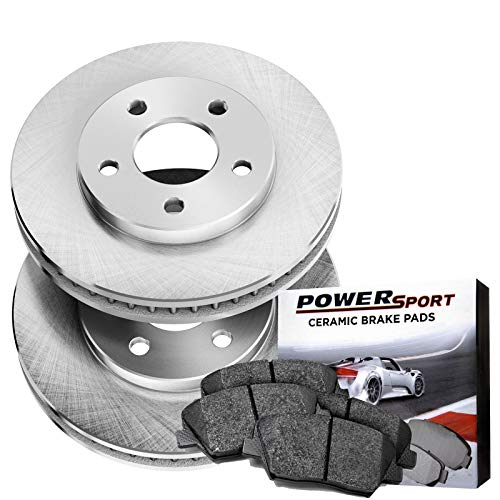 Power Sport Plain Replacement Brake Rotors and Ceramic Brake Pads Kit -81351 [FRONTS]