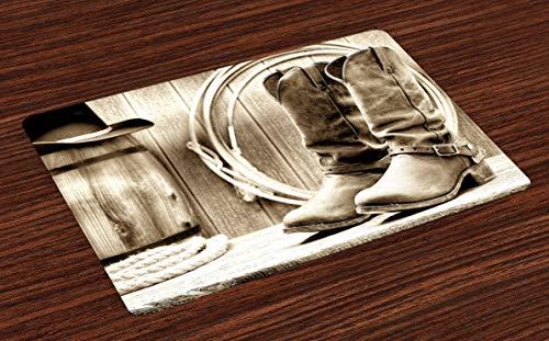 Set de 4 sets de table occidentaux photo sur le thème de l'ouest américain axé sur les bottes devant le fût et les cordes Sets de table en tissu lavable pour table à manger taille standard sépia