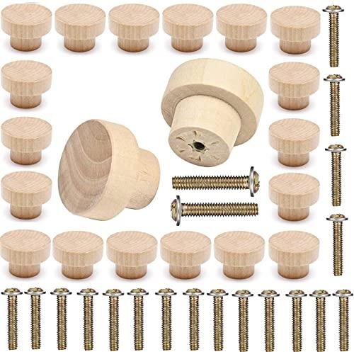 Griffe Möbelknöpfe Knäufe Holz Schrankknöpfe Knöpfe Schubladengriff holzknöpfe für Schrank Schublade rund 35 x 25 mm