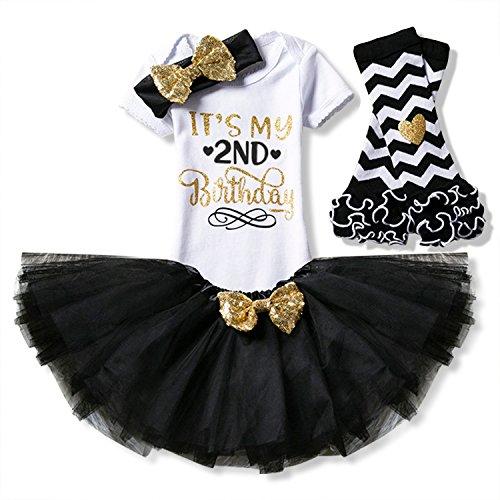 NNJXD Mädchen Neugeborene Es ist Mein 1. Geburtstag 4 Stück Outfits Strampler + Rock + Stirnband (+ Leggings) Größe (2) Schwarz(2 Jahre)