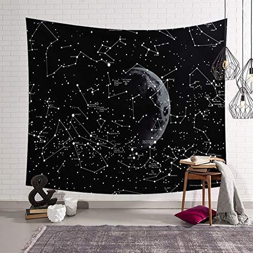 Brilliant Space Star Map Tapestry The Milky Way Galaxy Constellation Sky Cloth Manta de Pared para el hogar Decoración de la Sala de Estar del Dormitorio, Normal, 150X130Cm