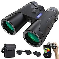 Jumelles 12×40 Jumelles HD Anti-Fog à vision nocturne | BAK4 Prismen FMC Binoculars avec sac de transport et adaptateur de téléphone portable Télescope extérieur pour observation d'animaux,randonnée,chasse