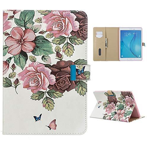 CESTOR Hülle für Samsung Galaxy Tab A 9.7,Rosa Blume Schmetterling Muster Hülle Stoßfest Ständer Magnetisch Leder Kartenfacher Tasche mit Auto Schlaf/Wach Funktion für Galaxy SM-T550/T555
