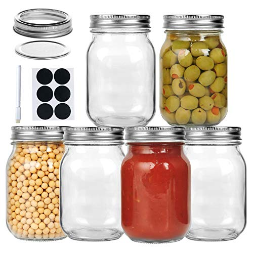 Eternal Moment Mason Jars 16 oz 6 Pack with Regular Lids and Bands, Canning Jars for Jam, Honey, Wedding Favors, Shower Favors, Baby Foods, DIY Magnetic Spice Jars, Overnight Oats, Jelly, Yogurt