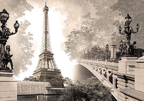 wandmotiv24 Fototapete Paris Frankreich Eiffelturm Brücke XL 350 x 245 cm - 7 Teile Fototapeten, Wandbild, Motivtapeten, Vlies-Tapeten Stadt Landschaft Sepia alt M4671