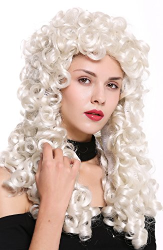 WIG ME UP - B17-2P-B-60 Perruque dame homme baroque renaissance roi gentilhomme boucles longues bouclées blond blanc