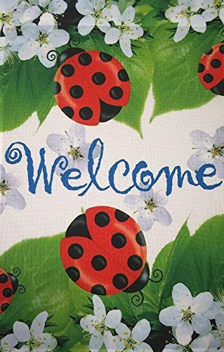 Jagfhhs Ladybugs Welcome Garden Flag Welcome Sign Spring Decorative Flag Designer Artwork Cute Yard Ornament Small Banner Size