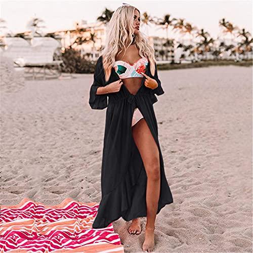 QinWenYan Blusa de Playa para Mujer Sexy Chiffon Beach Cover Up Mujer Bikini Cover Up Blouse Blusa Cardigan Vacaciones Sun Protection Shirt Summer Beachwear para Pool Party Beach