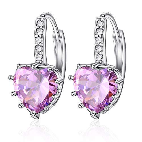 Sparkling Zircon Earrings Earrings Creative Peach Heart Earrings Small Fresh Multicolor Jewelry For Girls Pink X0180