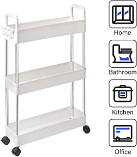 SOLEJAZZ Storage Cart 3-Tier Slim Mobile Shelving Unit Rolling Bathroom Carts with Handle, Rolling Organizer Cart for Kitchen Bathroom Laundry Room Narrow Places, White