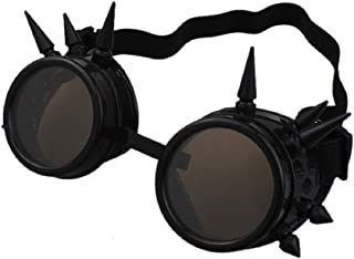 eoocvt Spiked Retro Vintage Victorian Steampunk Goggles Glasses Welding Cyber Punk Gothic Cosplay Sunglasse (Black)