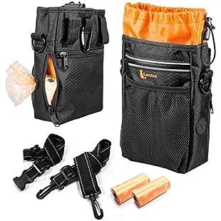 Customer reviews lanktoo Dog Treat Bag with Poop Bag Holder, Waterproof Dog Training Bag Pouch W/Shoulder Strap, Waist Belt, Clip, Easily Carry Dog Toys, Food - Black:Hashflur