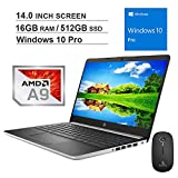 2020 Newest HP Pavilion 14 Inch Premium Laptop| AMD A9-9425 up to 3.7GHz| 16GB DDR4 RAM| 512GB SSD| WiFi| Bluetooth| HDMI| Webcam| Windows 10 Pro + NexiGo Wireless Mouse Bundle