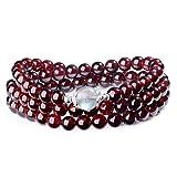 COAI Bracciale Collana con Perle in Labradorite e Granato, Bracciale Rosario Buddhista