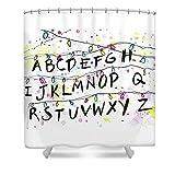 Stranger Things - Cortina de ducha con 11 ganchos (165 x 180 cm), diseño de alfabeto