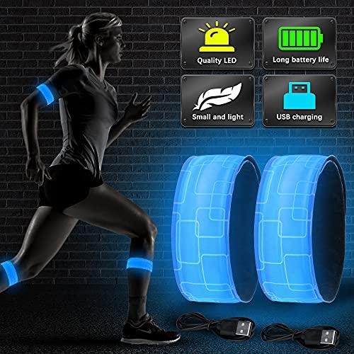 Vivibel LED Armband Aufladbar, 2 Stück Leuchtband mit USB, Reflektoren Joggen Leuchtarmband, Kinder Nacht Sicherheits Licht für Laufen Joggen Radfahren Hundewandern Running Outdoor Sports(Blau)