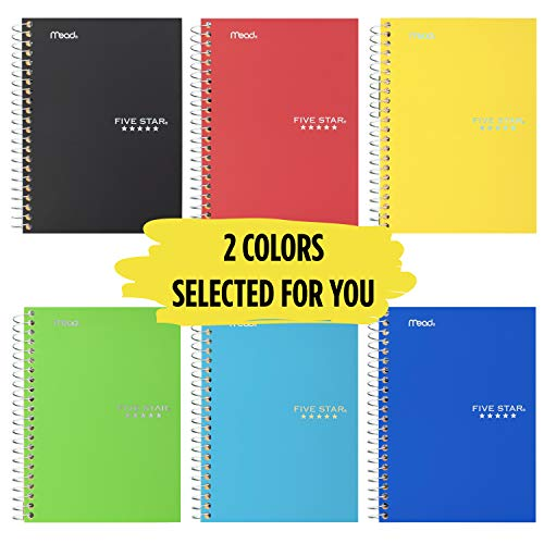 """Five Star Spiral Notebooks, 1 Subject, College Ruled Paper, 100 Sheets, 7 x 5"""", Personal Size, Colors Selected For You, 2 Pack (73707)"""
