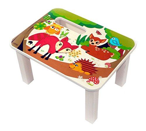 Hess Holzspielzeug 30284 - Fußbank aus Holz für Kinder, Serie Waldtiere, handgefertigt, ca. 33 x 24 x 18 cm groß, zum Sitzen und als Erhöhung beim Stehen