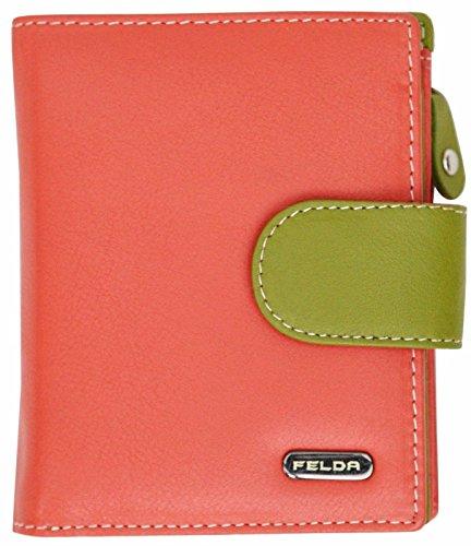 Felda - Damen Geldbörse aus weichem Echtleder - Münz- & Kartenfächer & RFID-Schutz - in Geschenkschachtel - Hellrot Mehrfarbig