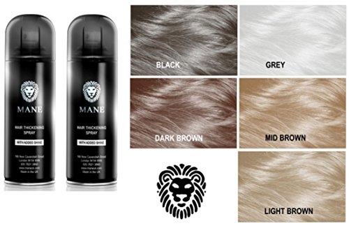 Mane Hair Thickening Spray/Root Concealer - TRAVEL SIZE - 100 ml Dark Brown - Twin Pack
