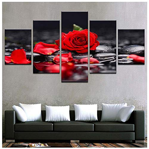 (5 stukken) Landschap schilderijen, Vlammende Rose Schilderij Core Hotel met Schilderij Woonkamer Frameloze Schilderij