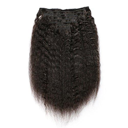 KeLang Hair Kinky Straight Clip In Human Hair Extensions Clip Ins Human Hair 9A Italian Coarse Yaki Brazilian Virgin Hair Clip In Extension 7pcs/lot,120gram/set 14inch