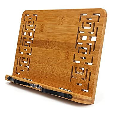 BamBoo Book Stand - HENGSHENG Reading Rest holder Cookbook Cook Stand/Foldable Tablet PC textbook/Music Document Stand / Desk Bookrest with Retro Hollow Elegant Pattern