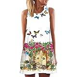 Frauen Kleid,Dragon Vintage Boho Frauen-Sommer-Sleeveless Strand gedrucktes kurzes Minikleid (XL, weiß)