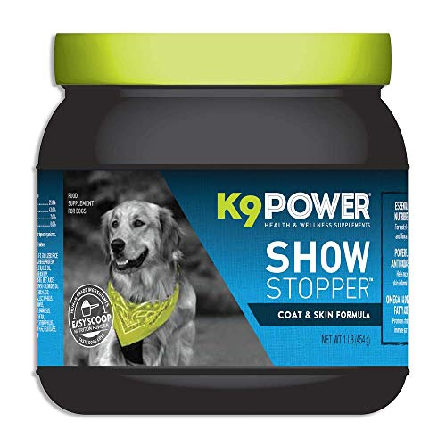 K9 Power - Show Stopper - Healthy Coat and Skin Supplement for Dogs - Reduces Excessive Itching and Shedding, Skin Hot Spots & Seasonal Allergies (1 lb)