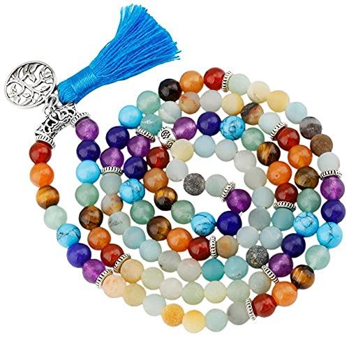 6mm Amazonita 7 Chakra 108 Beads Mala Piedras de oración Pulsera Collar