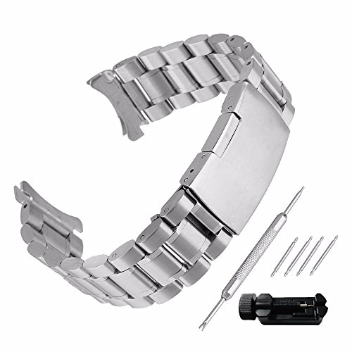 Beauty7 Silber Edelstahl Uhrenarmband Uhrenarmbänder mit Faltschließe Metall Uhr Armband mit 4 STK Federstege und Federstift 16mm 18mm 20mm 22mm 24mm (Set 20mm Silber)