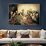 KAOLWY Lona Cartel Pintura Imprimir Jesucristo del Antiguo Testamento Pinturas sobre Lienzo En La Pared Láminas Artísticas La Última Cena De Jesús Cuadros De La Pared Decoración del Hogar